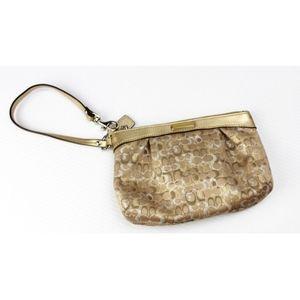 COACH Gold Silver Monogram Wristlet Pouch Wallet